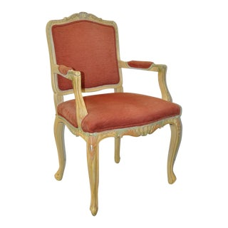 1950s Vintage French Carved, Painted & Upholstered Arm Chair