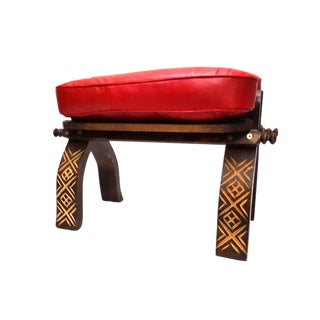 Red Moroccan Leather Footstool