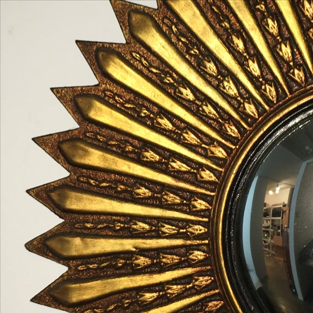 Mid Century Modern Argentinian Gilded Wood Starburst Convex Wall Mirror - Image 4 of 7