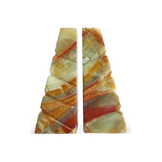 Image of Carved Onyx Bookends - Pair