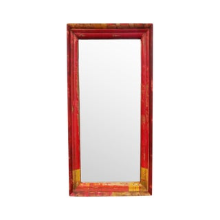 Red & Orange Wood Mirror