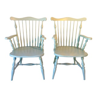 "Spindle-Back Arm Chairs Painted ""Sea Foam Green"""