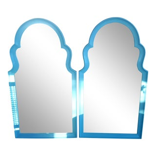 Set of 2- Vintage Moroccan Style Turqouise Blue Mirrors