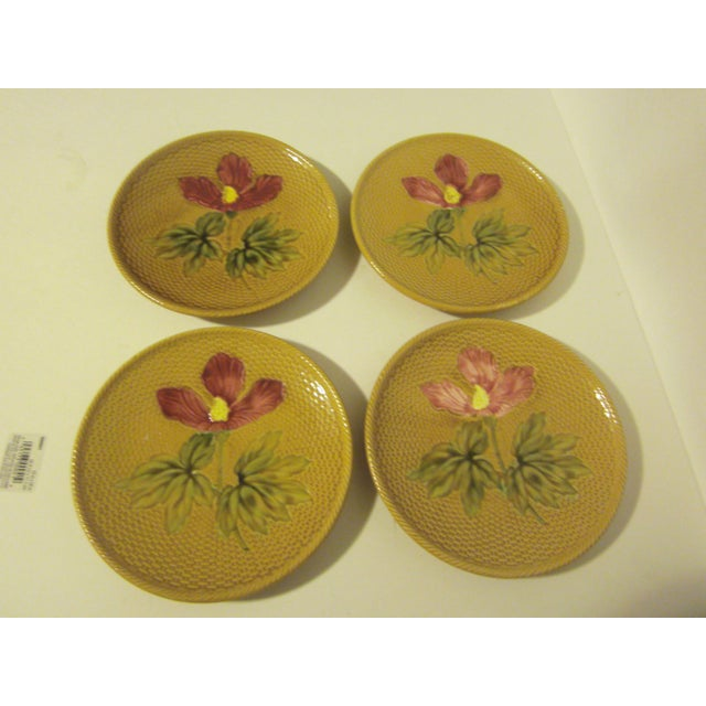 Image of 1940's German Majolica Dessert Plates - Set of 4