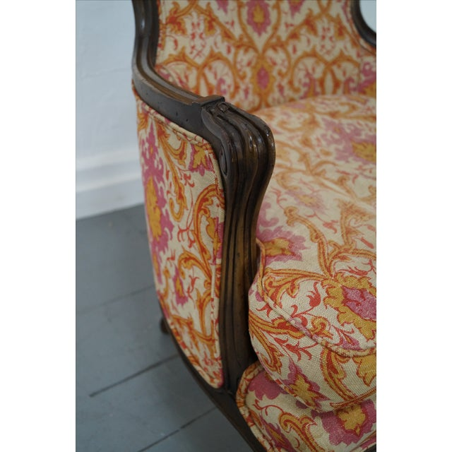 French Louis XV Vintage Red Bergere Chairs - Pair - Image 9 of 10