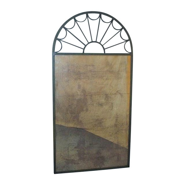 Image of Large Mirror in Green Iron Frame