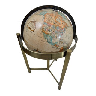 Mid-Century Replogle Globe With Brass Stand
