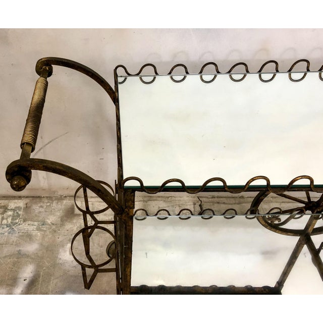 Hollywood Regency Italian Gilt Metal Bar Cart - Image 2 of 6