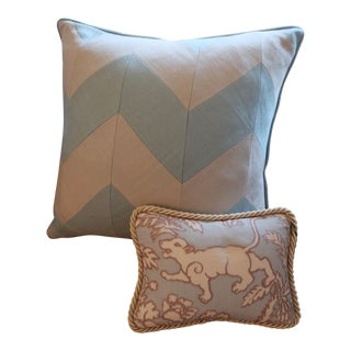 Trimmed Aqua Silk Lion & Deer Pillows - Two Available - Price Is Per Pillow