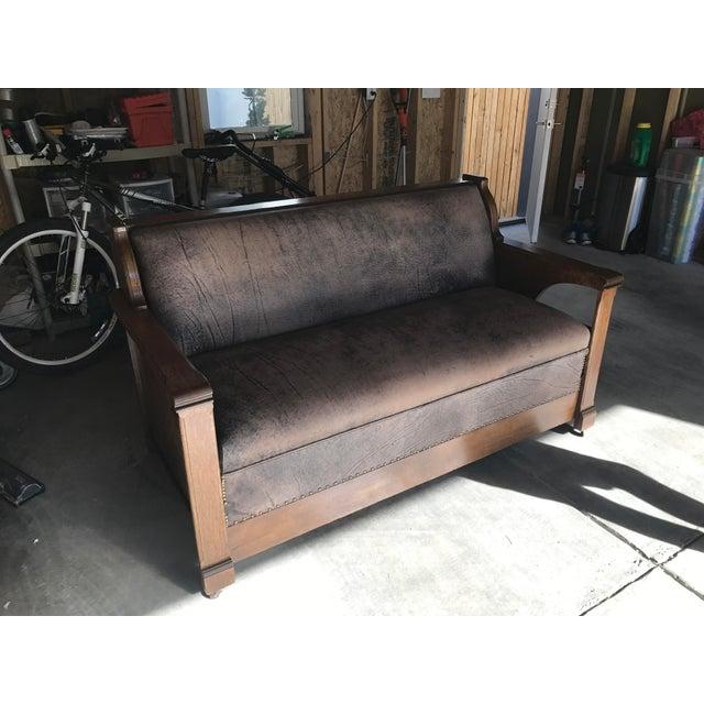 Antique Arts Amp Crafts Mission Style Quartersawn Davenport Sleeper Oak Sofa Chairish