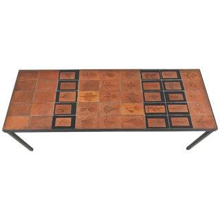 1960s Roger Capron Botanical Tile Table