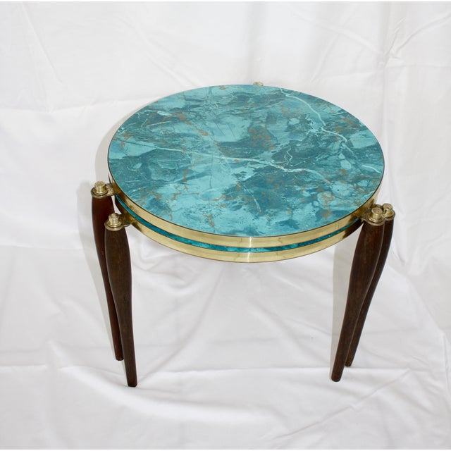 Faux Aqua Marble Stacking Tables - a Pair - Image 6 of 6