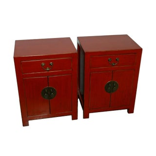 Chinese Red End Tables