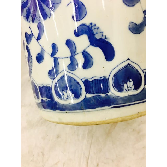 Umbrella Stand Blue And White: Vintage Blue & White Asian Style Ceramic Umbrella Stand