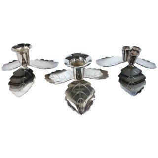 Silver-Plated Leaf Candleholders - Set of 3
