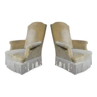 Pair of High Back Napoleon III Armchairs