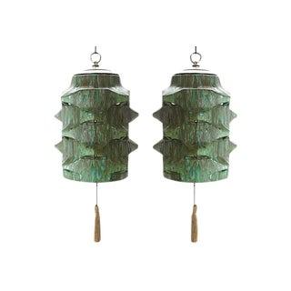 Mid-Century Green & Aqua Drip Glaze Pendants - A Pair