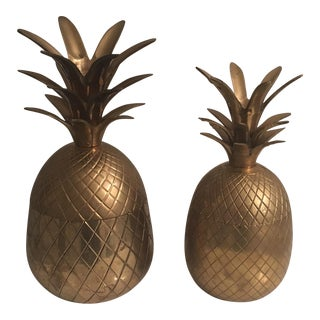 Hollywood Regency Brass Pineapples - A Pair