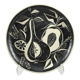 Black & White Ceramic Platter With Tropical Pattern