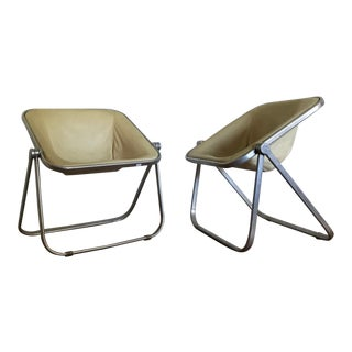 Giancarlo Piretti for Castelli Plona Leather & Aluminum Folding Chairs - A Pair