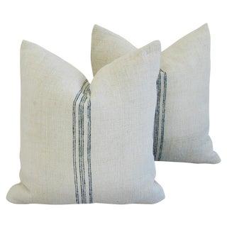 1940s French Grain Sack Pillows - A Pair