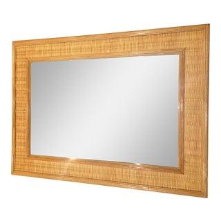 70s Wood & Rattan Mirror