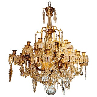 Magnificent Bronze and Crystal French Candle Chandelier Attributed to Baccarat circa 1900