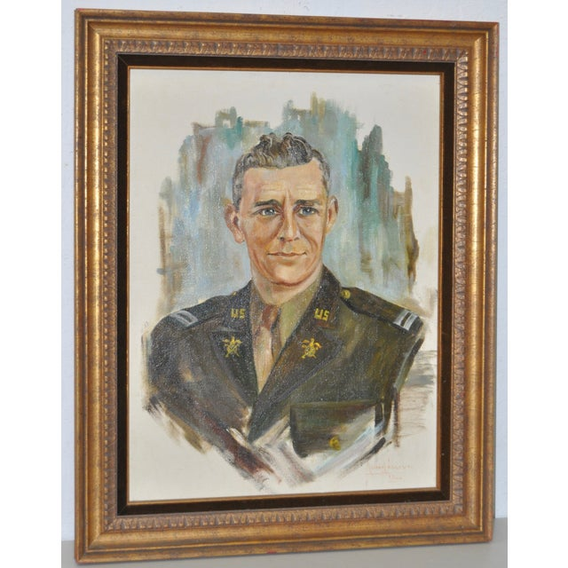 Image of World War II Military Portrait Oil On Canvas