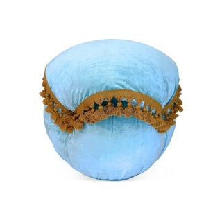 Light Blue Velvet Fringed Ottoman