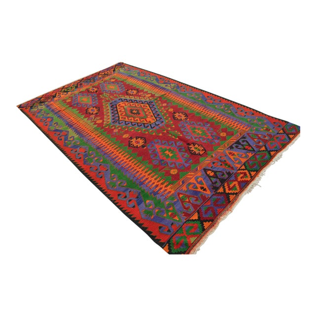 Turkish Kilim Hand Woven Wool Area Rug - 5′8″ X 9′4″ - Image 1 of 9
