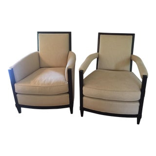 Donghia Cream Upholstered Club Chairs- A Pair