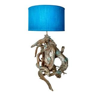 Blue & White Driftwood Lamp