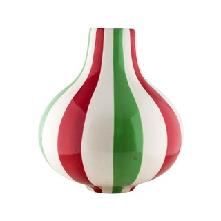 Jonathan Adler Striped Vase Ceramic Red White Green