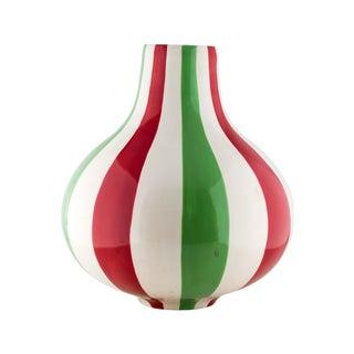 Jonathan Adler Striped Vase Ceramic Red White Green