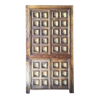Vintage Wood and Cork Brutalist Armoire