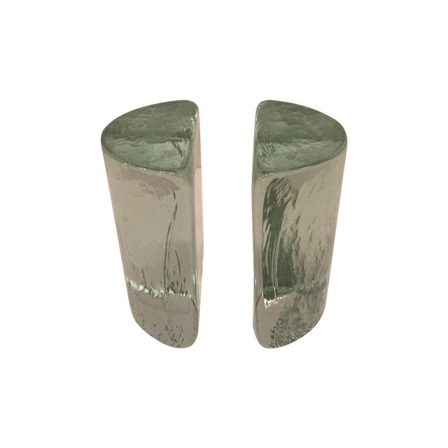 Image of Blenko Half Moon Bookends - A Pair