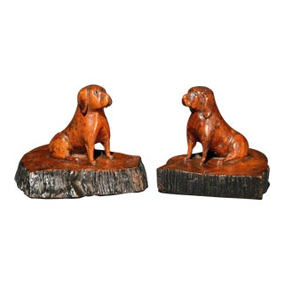 A Pair of Oak Treen Dogs, Probably Pugs, 19th-Century.