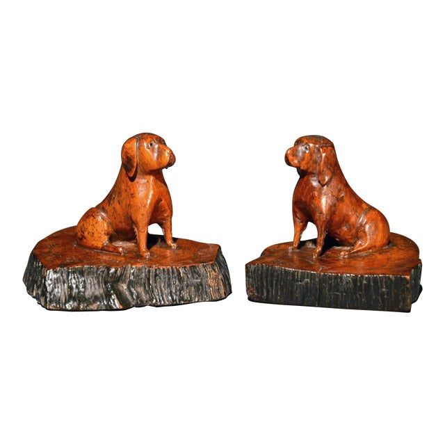 Image of A Pair of Oak Treen Dogs, Probably Pugs, 19th-Century.