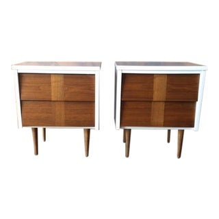 Mid-Century 2 Tone Walnut White Lacquer Nightstands - A Pair