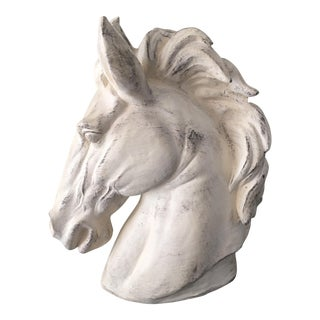Whitewashed Outdoor Horse Bust
