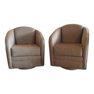 Swivel Platform Hollywood Regency Club Chairs - A Pair