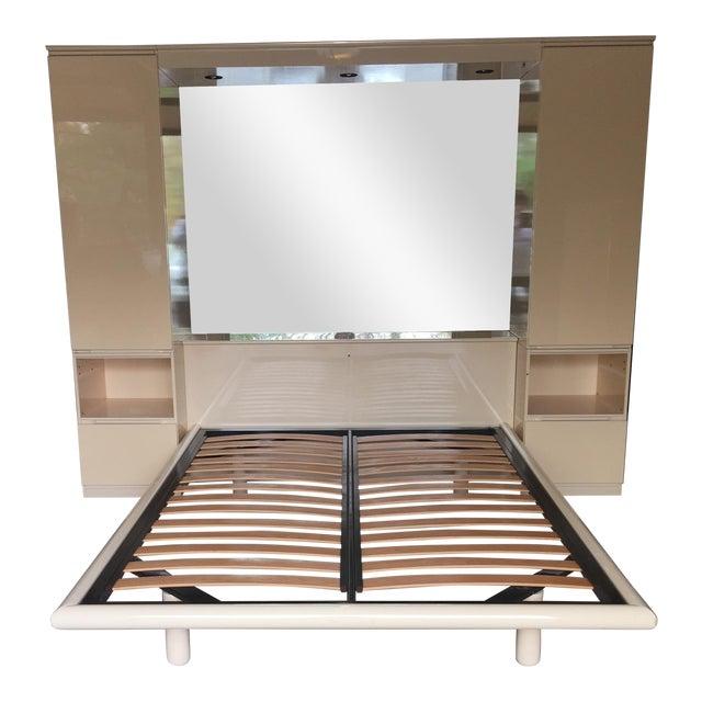 Ello Vintage Mirrored Queen Platform Bed Unit - Image 1 of 11
