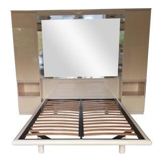Ello Vintage Mirrored Queen Platform Bed Unit