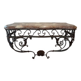 French Regency Wrought Iron & Marble Console Table
