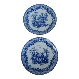 Blue & White Toile De Jouy Plates - A Pair