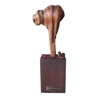 Vintage Camel Sculpture on Wooden Base
