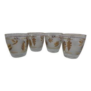 Libbey Gold Leaf Lowball Glasses - Set of 4