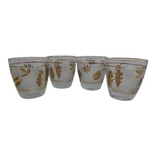 Libbey Gold Leaf Lowball Glasses - Set of 4