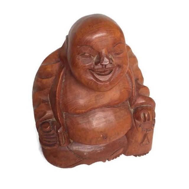 Vintage Laughing Buddha Wood Statue - Image 4 of 6