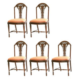 """Butterfly"" Walnut Antique Dining Chairs - 5"